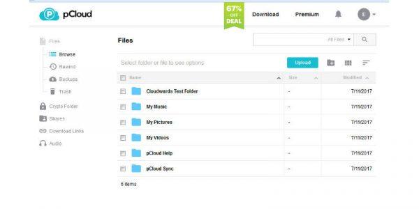 interface web de pcloud