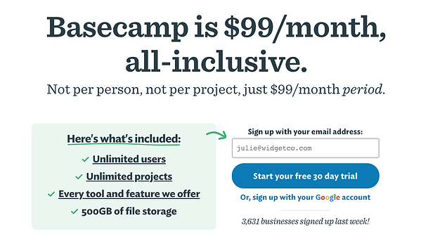 tarif forfaitaire de Basecamp